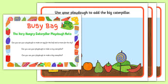 Playdough Activity Busy Bag Prompt Card and Resource Pack to Support Teaching on The Very Hungry Caterpillar - Size comparison, big and little, Eric Carle