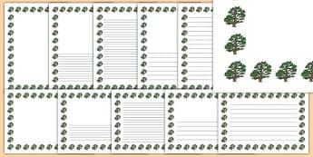 Cedar Tree Themed Page Borders - cedar tree, themed, page borders, page, borders, cedar, tree
