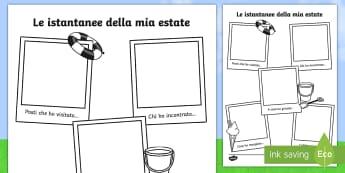 Le istantanee della mia estate Esercizio di Scrittura - esercizio, di, scrittura, estate, estivo, scrivere, italiano, italian, materiale, scolastico
