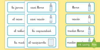 Tarjetas de vocabulario: Capacidad - CI - medida, capacidad, mates, medir medida, medir capacidad, lleno, vacio, vocabulario, tarjetas, matem
