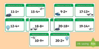 Odejmowanie liczb do 20 - różnica, odjąć, odejmij, oblicz, matematyka, liczenie, policz