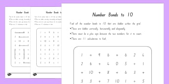 Number Bonds to 10 Word Search - New Zealand, maths, addition, numbers to 10, adding to 10, Years 1-3, adding, number bonds, word sea