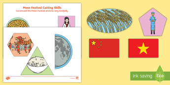 Moon Festival Cutting Skills Activity Sheet - mid-autumn festival, fine motor, cutting skills, harvest, asia, china, vietnam
