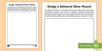 Design a Balmoral Show Mascot Activity - Northern Ireland, Balmoral Show, 10th-13th May, Farming, Agriculture, Key Stage 1, design, mascot, w