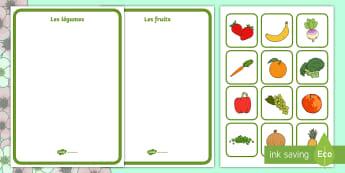 Activité de tri : Les fruits et légumes - fruits, légumes, vegetables, plantes, plants, alimentation, langage, speaking, cycle 1, EYFS, PS, M