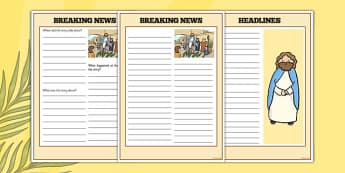 Palm Sunday Breaking News Newspaper Writing Frame - christianity, religion, christian