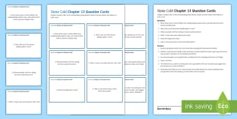 Chapter 13 Question Cards to Support Teaching on 'Stone Cold' by Robert Swindells - Swindells, Comprehension, Shelter, Link, Assess, KS3