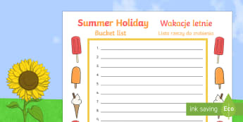 Summer Holiday Bucket List English/Polish - summer holiday, bucket list, summer, holiday, activities, summertime, Timw,Polish-translation