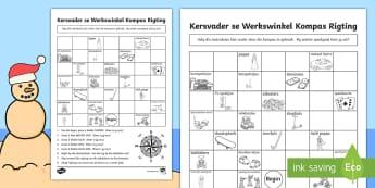 Kersfees Kompas Aktiwiteit - Desember, rigting, kaart, speelgoed, Kersvader, Kersboom, instruksies