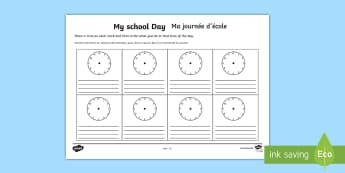 My School Day Activity Sheet  English/French - My School Day Worksheet - timetable, daily routine, transition, routines, Time, transition, bump up