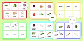 Vegetable Bingo Gaeilge - Bia, Bingó, Glasraí, irish, food, vegetables, vocabulary, game, activity