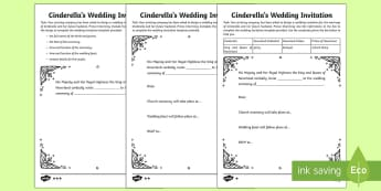Cinderella Wedding Invitation Writing Template - invitation, wedding, Cinderella, fairytale, template, creative writing, activity sheet, worksheet