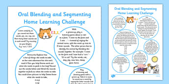 Oral Blending and Segmenting EYFS Home Learning Challenge Sheet Reception FS2 - EYFS planning, Early years activities, homework activities, phonics, Letters and Sounds, Phase 1, Aspect 7