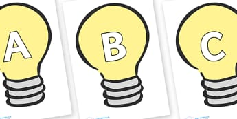 A-Z Alphabet on Light Bulbs (Plain) - A-Z, A4, display, Alphabet frieze, Display letters, Letter posters, A-Z letters, Alphabet flashcards