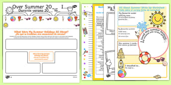 KS1 First Day Back Activity Pack Spanish Translation - spanish, holidays, summer, back to school, new class, new year, transition, return, holiday, break, first day, 1st day