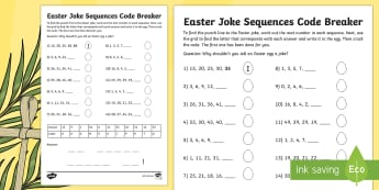 Easter Joke Sequences Code Breaker Activity Sheet - NI, Easter, numbers, sequences, patterns, relationship, joke, code, breaking, numeracy, easter, numb