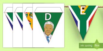 Mandela Day 18th July, display, bunting, Nelson Mandela, Mandela Day, Mandela's birthday