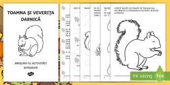 Toamna și veverița darnică Broșură cu activități integrate - clasa pregătitoare, broșură, activități integrate, predare integrata, veverita, fise de lucru,R