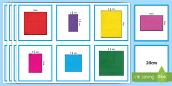 Perimeter Matching Cards - perimeter, matching, measurement, centimetre, height, width, Cards