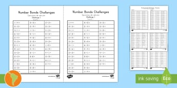 Number Bond Challenge Activity Sheet US English/Spanish (Latin) - Elementary Maths, number bonds, pair, matching, total, solve, find, reason, practise, recall, add, a