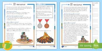Las estaciones del año: el verano - verano, primavera, otoño, estaciones, invierno, lectura, leer, comprensión, estación, ,Spanish