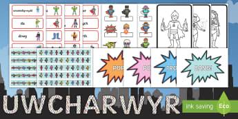 Pecyn Arddangosfa Uwcharwyr - Superheroes, display, uwcharwyr, archarwyr, arddangos, labeli, dosbarth,Welsh