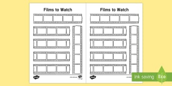 Bullet Journal Films to Watch Planner - Bullet Journal, bujo, diary, journal, borders, colouring, doodles, planner, films to watch, movie ni