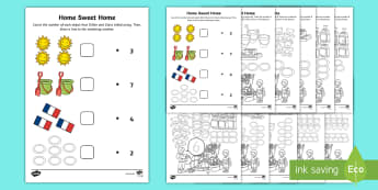 Home Sweet Home Maths Activity Pack - Aistear, Exploring My World, houses, homes, kitchen, bedroom, sitting Room, bathroom, Shed, Numeracy