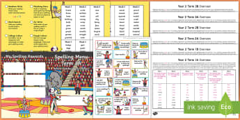 Year 2 Circus Themed Spelling Menu Pack - spag, gps, home learning, weekly, lists, test
