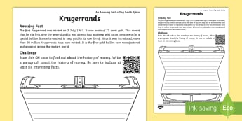 An Amazing Fact A Day South Africa - Krugerrand Activity Sheet - currency, money, coinage, gold, South Africa, bullion, worksheet