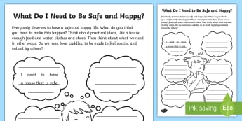 What Do I Need to Be Happy and Safe? Activity Sheet - PSHCE, emotions, family, rules, transitions, worksheet