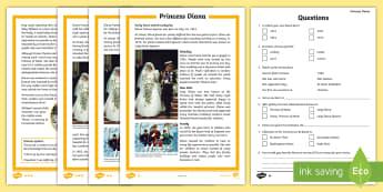 KS2 Princess Diana Differentiated Reading Comprehension Activity - Princess of Wales, Princess Di, royal family, ks2 history, british monarchy