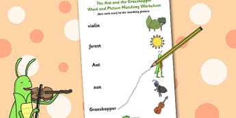 The Ant and the Grasshopper Word and Picture Match - Grasshopper
