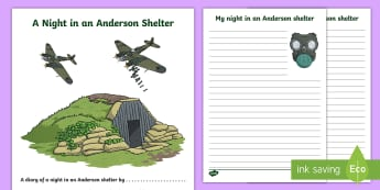 World War Two Anderson Shelter Diary Writing Template - world war two, world war 2, ww2, world war II, world war two diary template, world war two diary, ww2 diary