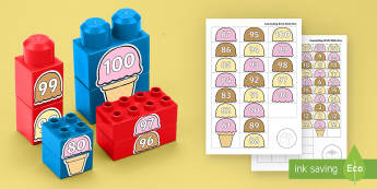 Ice Cream Scoops Numbers to 100 Connecting Bricks Game -  Ice Cream Scoops Numbers to 100 Connecting Bricks Game - EYFS, Early Years, KS1, Connecting Bricks