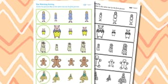 Traditional Tales Themed Size Matching Worksheet - size, matching