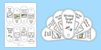 Writing Target Fans - writing aid, visual aid, literacy, targets
