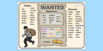 Wanted Poster Word Mat - wanted poster, poster, word mat, keyword