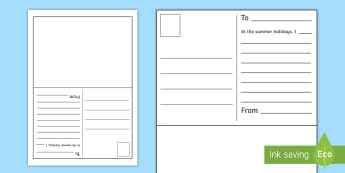 Summer Postcard First Level Writing Activity Sheet - New class, transition, getting to know you, first day, summer holidays, recount, worksheet