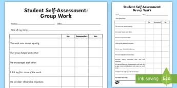 Self Assessment: Group Work Activity Sheet - Assessments and Evaluations, group work, self-assessment, reflection