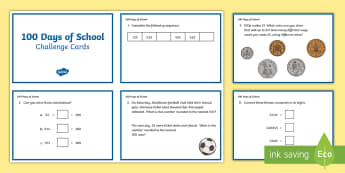 LKS2 100 Days of School Maths Challenge Cards - 100 Days of School, maths, LKS2, rounding to 100,Round any number to the nearest 10, 100 or 1000,  m