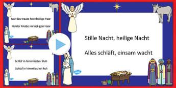 Stille Nacht Christmas Carol Lyrics PowerPoint German - german, silent night, christmas carol, christmas, lyrics, powerpoint