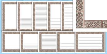 Roman Mosaic Themed Page Borders - roman mosaic, roman, mosaic, page borders