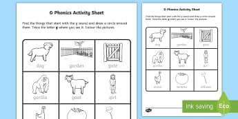 g Phonics Activity Sheet-Irish, worksheet