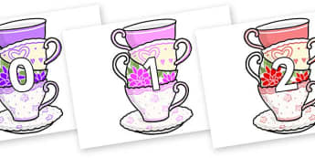 Numbers 0-50 on Teacups - 0-50, foundation stage numeracy, Number recognition, Number flashcards, counting, number frieze, Display numbers, number posters