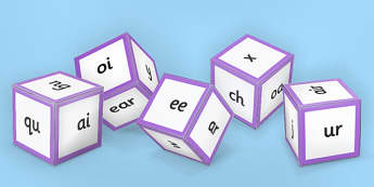 Phase 3 Phoneme Sounds Dice Nets - phase 3, phonemes, sound dice