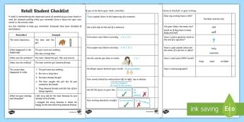 Foundation Retell: Student Checklist - Australia, Australian Curriculum, acara, checklist, student checklist, retell, writing checklist, Fo