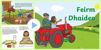 Grandad's Farm Story PowerPoint Gaeilge - Gaeilge, Irish, Feirm, Ar an bhfeirm, Sa Bhaile, Scéal, story, farm, at home, mo chlann, my family, Irish reading