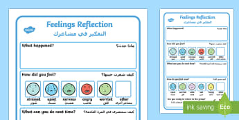 Feelings Reflection Writing Frame Arabic/English - ُِEAL Feelings Reflection - Feelings, Reflection, Think, Emotions, Feel, emtions, pictures of peop