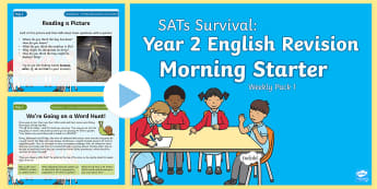 SATs Survival: Year 2 English Revision Morning Starter Weekly PowerPoint Pack 1 - SATs Survival Materials Year 2, SATs, assessment, 2017, English, SPaG, GPS, grammar, punctuation, sp